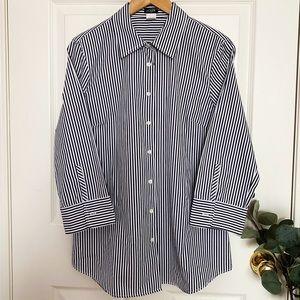 J.CREW 100% Cotton Like New Oxford - Black Stripes